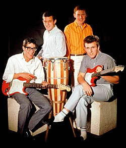 The Shadows - Hank Marvin (left) and Bruce Welch (right) both with a fiesta red Stratocaster