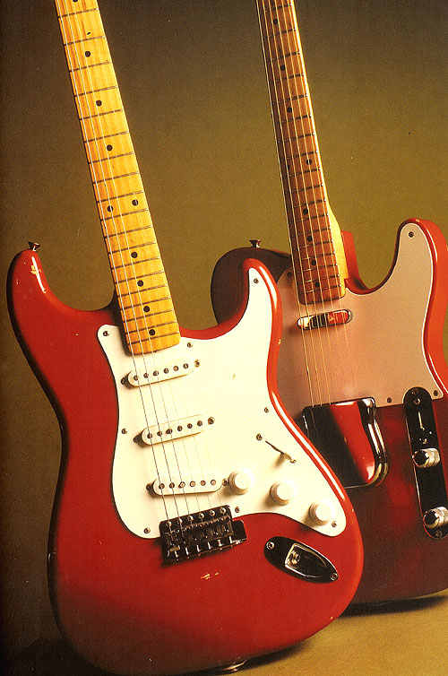 Cimarron red -  a rare Fender custom colour, here on a '55 Strat and a Tele