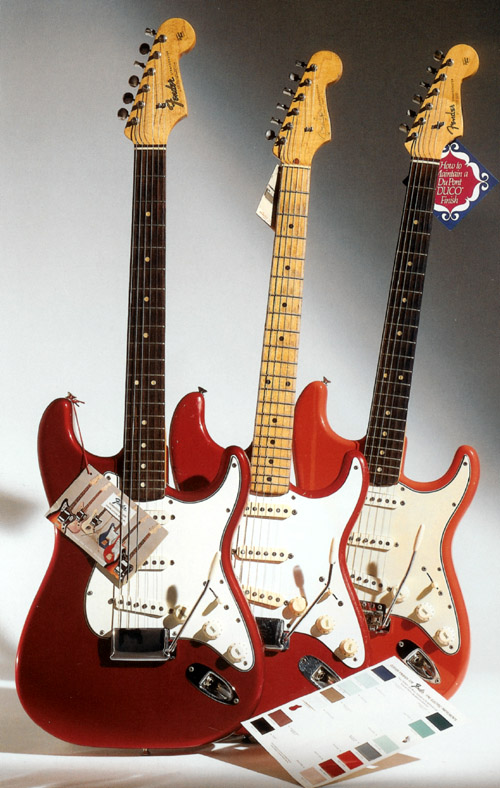 A '65 Strat in candy-apple-red (left), a '58 in Dakota red (center), and fiesta red (right)