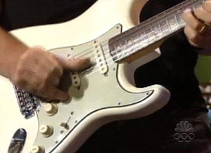 The white '64 Strat that was used for the lead in Sailing to Philadelphia