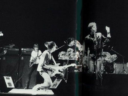 Talking Heads as guests on stage in 1979 - note the aluminium dust caps on the Music man amp