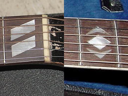 Left: parallelogram inlays on the 1953 Southerner Jumbo, diamond and arrowhead inlays on the 1938 Advanced (right)