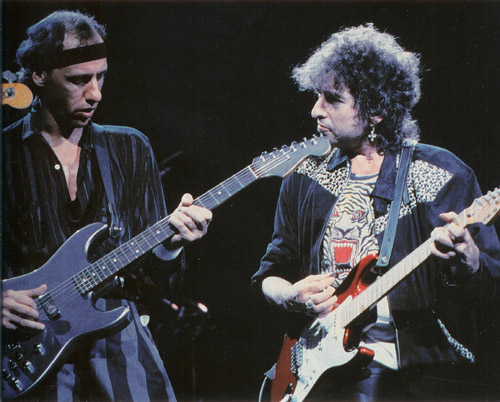 Mark Knopfler with Bob Dylan who was a guest on the Brothers in ARms tour in Australia, 1986