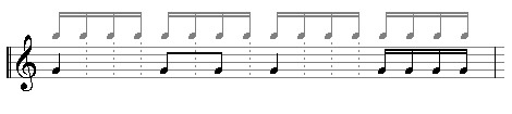 All notes fit into a grid of sixtennth notes