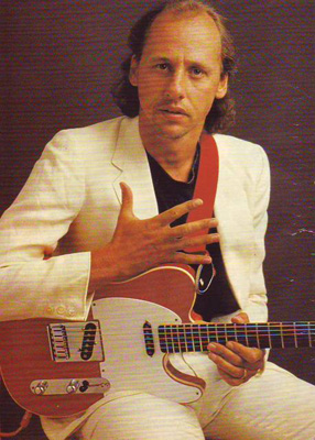 The red Schecter Tele in 1984 - used extensively on the Cal album or on Walk of Life a year later