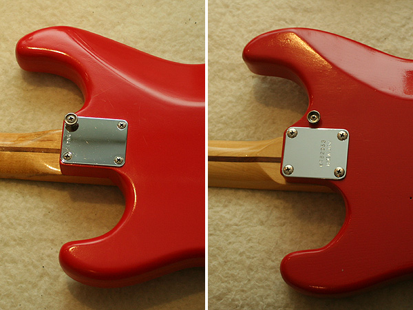 Strap button with a neck screw (left) or near the neck plate (right)?