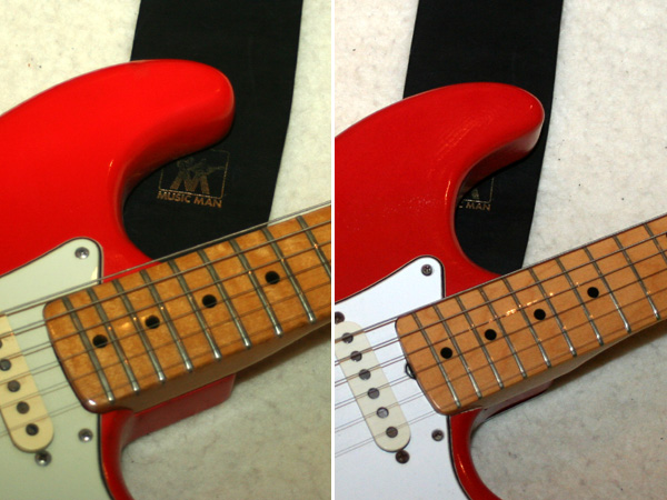 On the right guitar the strap button location seems similar again